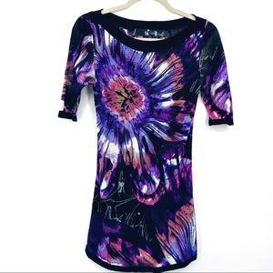 Desigual Bold Floral Purple Tie Dye Viscose Top S
